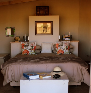 Main bedroom in  Mongoose Self Catering Cottage at Amohela ho Spitskop Country Retreat & Conservancy in the Free State.