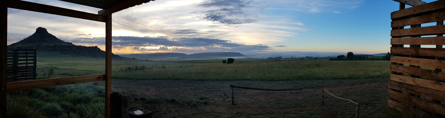 The beautiful view from accommodation Quail Self Catering Cottage at Amohela ho Spitskop Country Retreat & Conservancy a getaway in the Eastern Free State between Ficksburg & Clocolan.