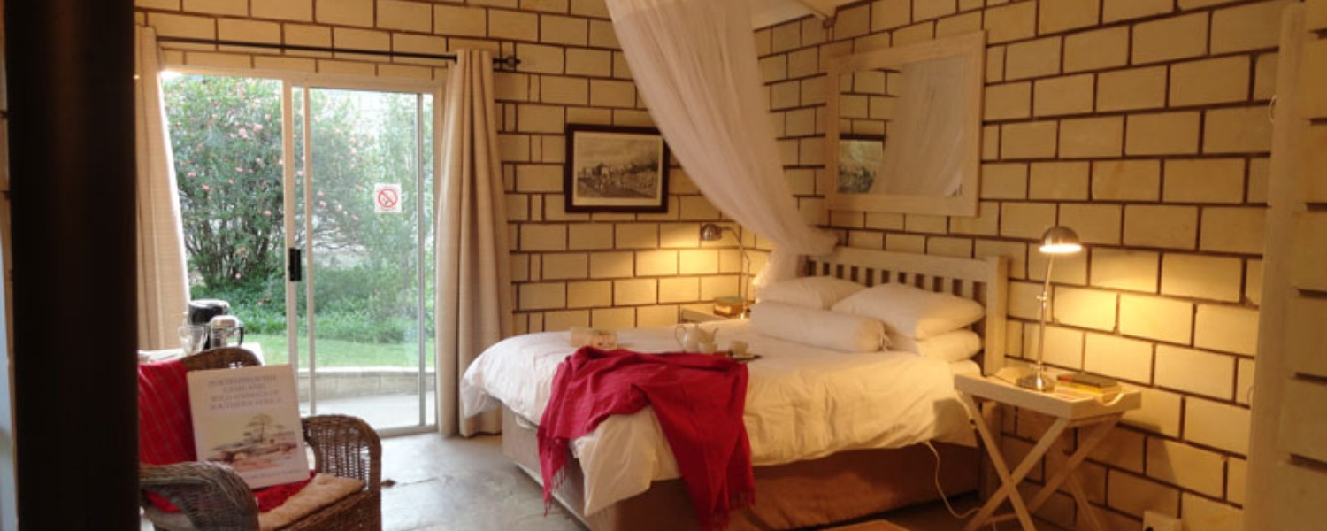 Cornwallis Garden Bedroom tucked away in gardens @ Dassie House. Dinner Bed & Breakfast.
