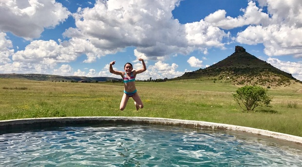 At Amohela ho Spitskop Country Retreat & Conservancy between Ficksburg & Clocolan Eastern Free State, the far reservoir with clean fresh water and views to forever is a great delight to children of all ages.