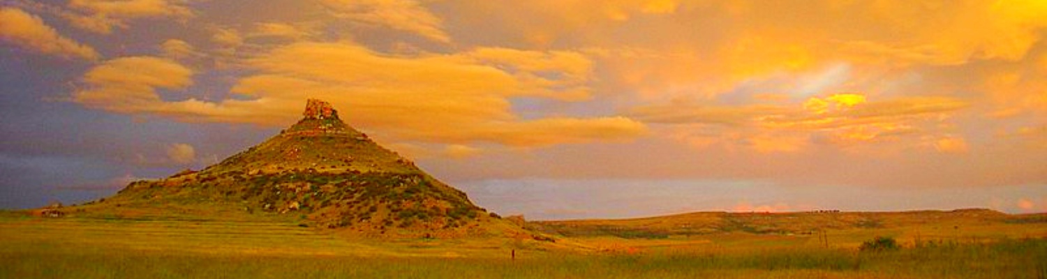 The stunning sunrise over Spitskop Mountain at Amohela ho Spitskop Country Retreat between the small rural farming villages of Ficksburg & Clocolan in the Free State.